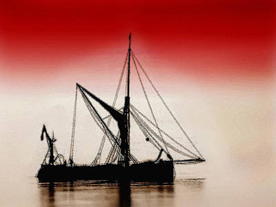 Photograph - Sail Boat And Red Sky by Cliff Norton