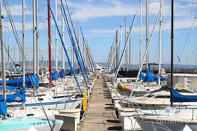 Sail Boats At San Francisco China Basin Pier 42 . 7d7692 Print by Wingsdomain Art and Photography