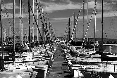 Sail Boats At San Francisco China Basin Pier 42 With The Bay Bridge In The Background . 7d7166 Print by Wingsdomain Art and Photography