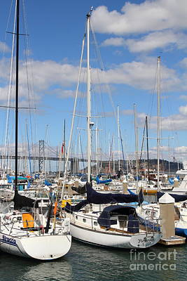 Sail Boats At San Francisco China Basin Pier 42 With The Bay Bridge In The Background . 7d7685 Art Print by Wingsdomain Art and Photography