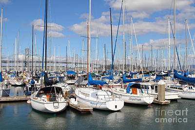 Sail Boats At San Francisco China Basin Pier 42 With The Bay Bridge In The Background . 7d7688 Art Print by Wingsdomain Art and Photography