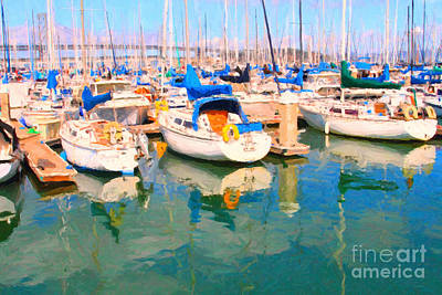 Sail Boats At San Francisco's Pier 42 Print by Wingsdomain Art and Photography