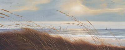 Sailboats Painting - Sailboat Breezeway Panoramic  by Diane Romanello