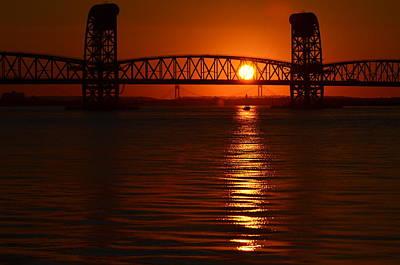 Art Print featuring the photograph Sailboat Bridges Sunset by Maureen E Ritter