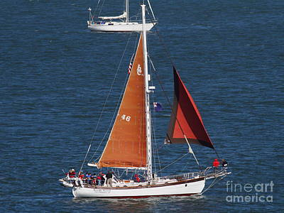 Sailboat In The San Francisco Bay . 7d7881 Art Print by Wingsdomain Art and Photography