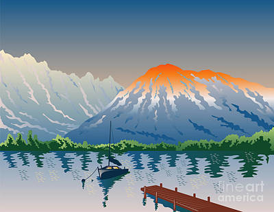 Sailboat Jetty  Mountains Retro Art Print by Aloysius Patrimonio