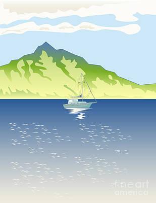 Sailboat Mountains Retro Art Print by Aloysius Patrimonio