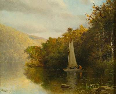 Sailboat On River Art Print by Arthur Quarterly