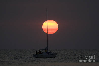 Boat Photograph - Sailboat On Smooth Water With Sun Setting Behind Mast by Christopher Purcell