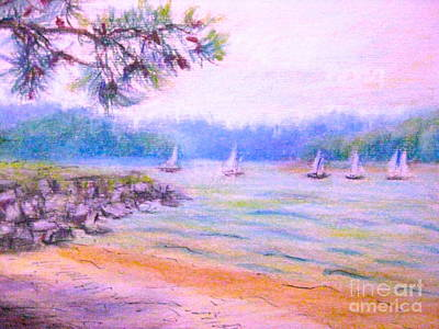Pastel - Sailboat Races At Galt's Ferry by Gretchen Allen