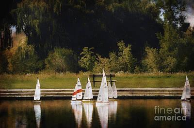 Toy Boat Mixed Media - Sailboat Regatta by Elaine Manley