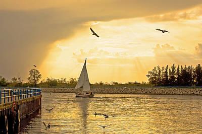 Sailboat Sunset Down Muskegon Channel Original