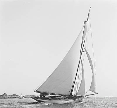 Sailboat Wayward 1890 Bw Art Print by Padre Art
