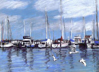 Mixed Media - Sailboats And Seagulls by Anita Burgermeister