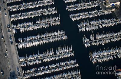 Sailboats At Wharf Art Print by Sami Sarkis