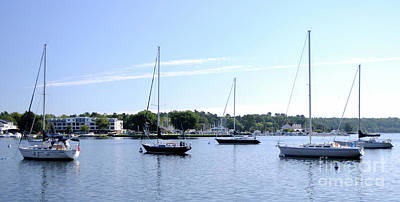 Photograph - Sailboats In Bay by Ronald Grogan