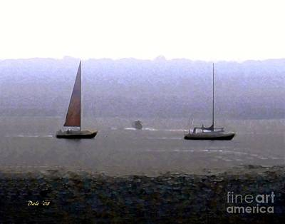 Digital Art - Sailboats In Fog by Dale   Ford