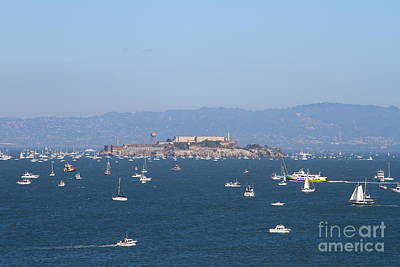 Sailboats In The San Francisco Bay Overlooking Alcatraz . 7d7862 Art Print by Wingsdomain Art and Photography