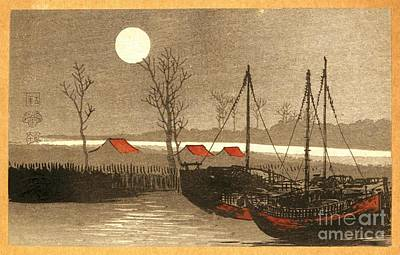 Sailboats Moored Under The Full Moon Art Print