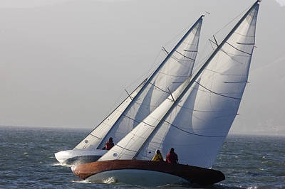 Sailboats Race Upwind In San Francisco Art Print by Skip Brown