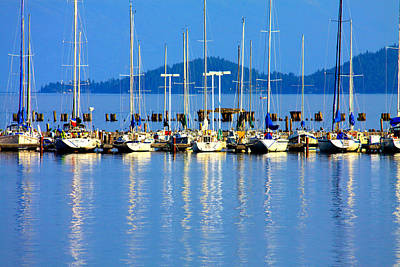 Sailboats Reflections Print by Karon Melillo DeVega