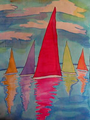 Sailboats Art Print by Yvonne Feavearyear
