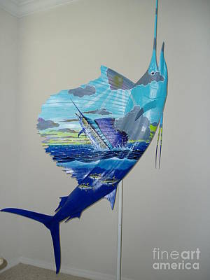 Key West Painting - Sailfish Art On Sailfish by Carey Chen