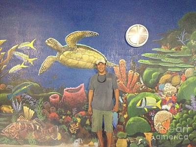 Green Sea Turtle Painting - Sailfish Splash Park Mural 7 by Carey Chen
