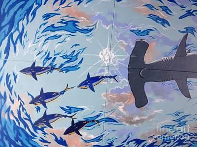 Bull Shark Painting - Sailfish Splash Park Mural 8 by Carey Chen