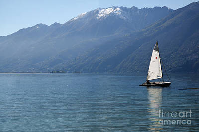Sailing Boat And Mountain Art Print by Mats Silvan