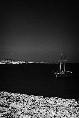 Sailing Boat Moored In A Quiet Bay Near Cape Gkreko Greco Republic Of Cyprus Art Print by Joe Fox