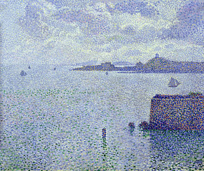 Pointillist Painting - Sailing Boats In An Estuary by Theo van Rysselberghe
