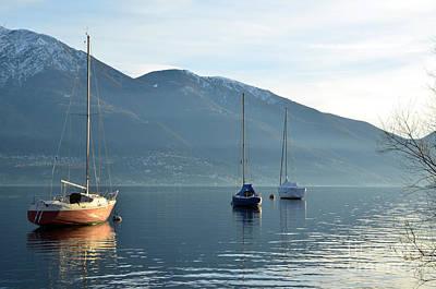 Sailing Boats On An Alpine Lake Art Print
