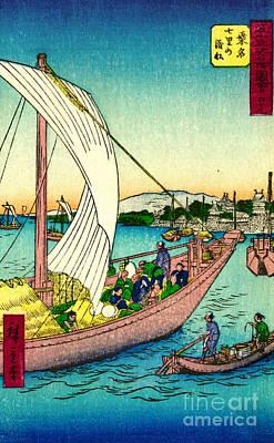 Ando Hiroshige Photograph - Sailing Into Port 1855 by Padre Art