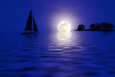 Sailing Into The Moonlight Art Print by Cindy Haggerty