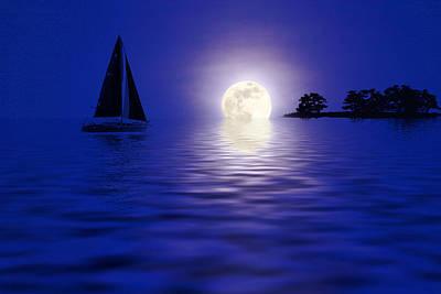 Sailing Into The Moonlight Art Print