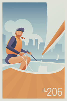 Brown Digital Art - Sailing Lake Union In Seattle by Mitch Frey