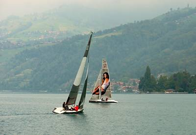 Switzerland Photograph - Sailing On Lake Thun Switzerland by Marilyn Dunlap
