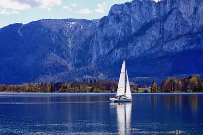 Sailing On Mondsee Lake Art Print by Lauri Novak
