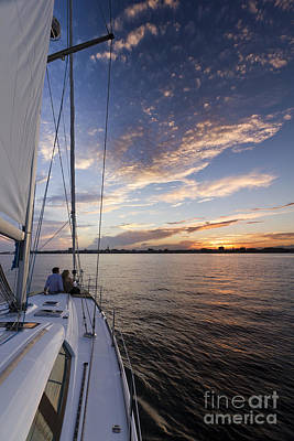 During Photograph - Sailing On The Charleston Harbor During Sunset by Dustin K Ryan