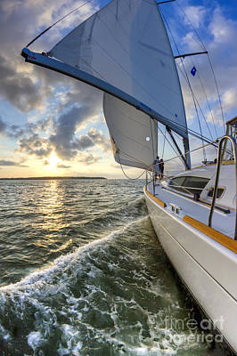 Sailing On The North Edisto Inlet During Sunset Beneteau 49 Fate Print by Dustin K Ryan