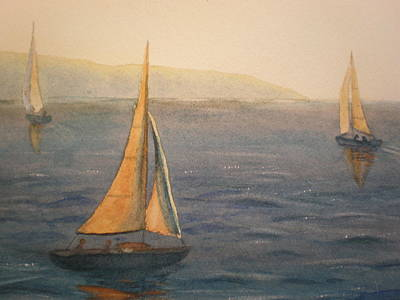 Painting - Sailing San Diego Harbor by Lori Chase