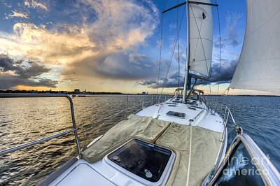 Sunset Sailing Photograph - Sailing Sunset Charleston Sc by Dustin K Ryan