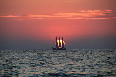 Photograph - Sailing Sunset by RobLew Photography