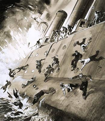 Fire Escape Painting - Sailors Escaping Hms Natal Which Caught Fire In Cromerty Firth In 1915 by English School