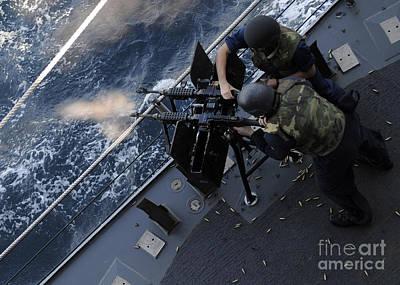 Sailors Fire A Dual-mounted M240 Art Print