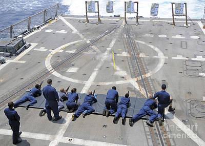 Sailors Fire M4a1 Carbine Assault Art Print by Stocktrek Images