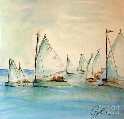 Painting - Sailors In A Runabout by Julie Lueders