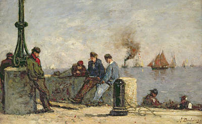 Sailboat Ocean Painting - Sailors by Louis Alexandre Dubourg