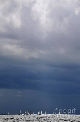Sailsboat By Stormy Sky Art Print